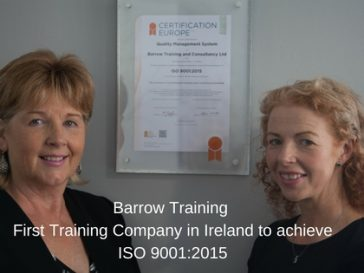 Barrow Training – First training company in Ireland to achieve ISO 9001:2015